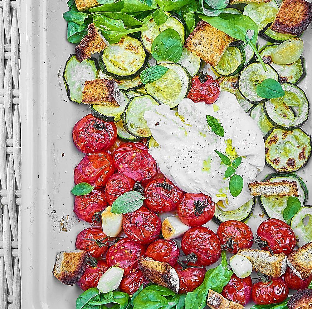 buratta z grillowanymi warzywami