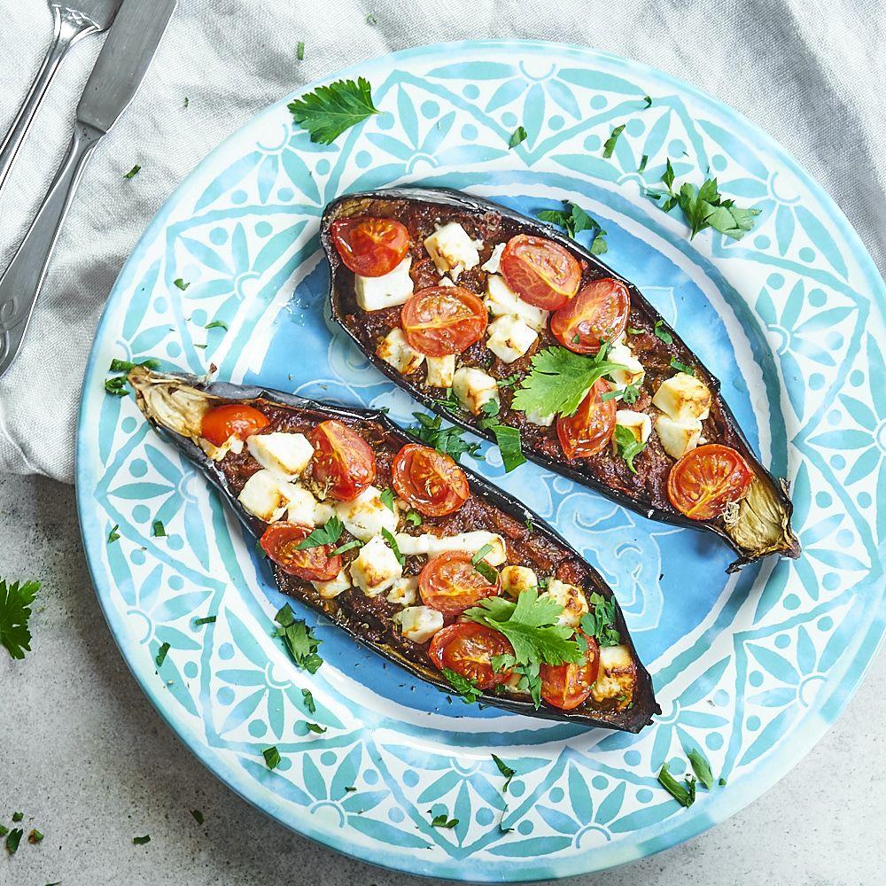 Imam Bayildi, czyli nadziewany bakłażan z fetą i pomidorami