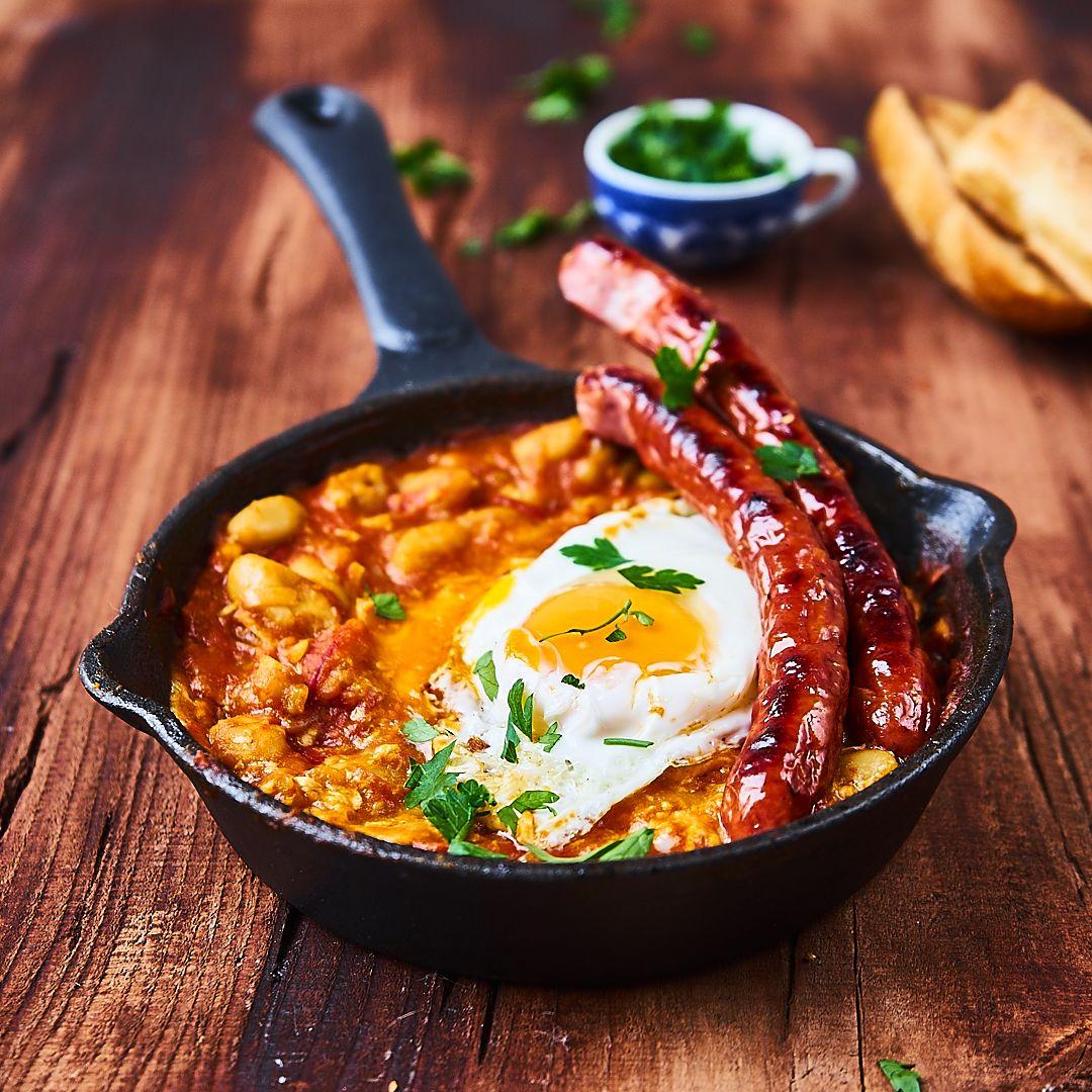 Shakshuka a'la śniadanie angielskie